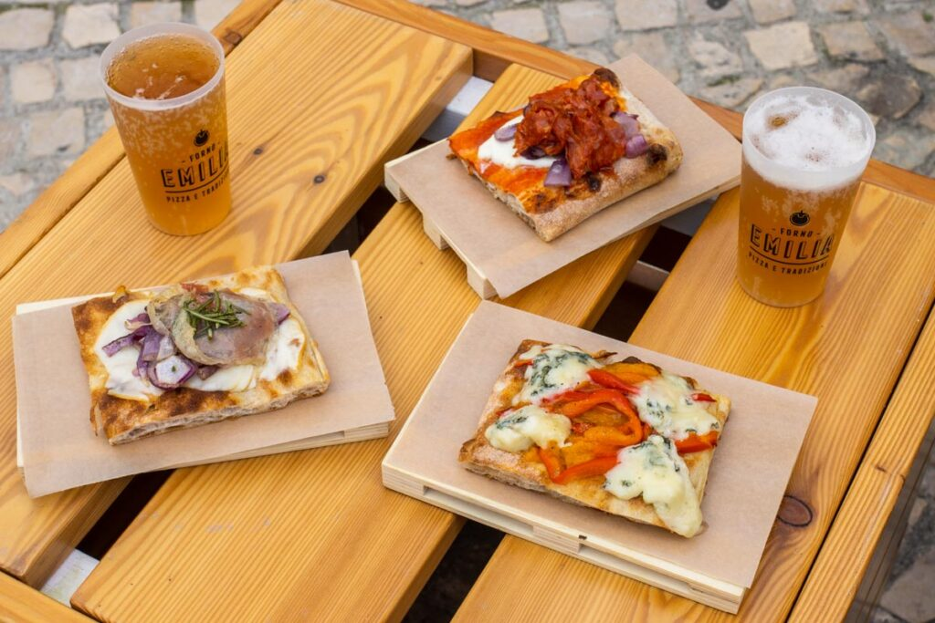Pizza and Beer at Forno Emilia in Lisbon