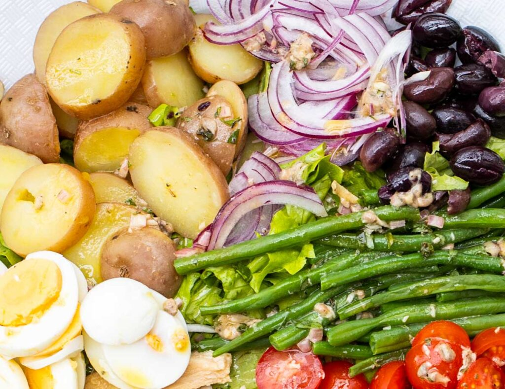 Potatoes and Haricots Verts in Salade Nicoise