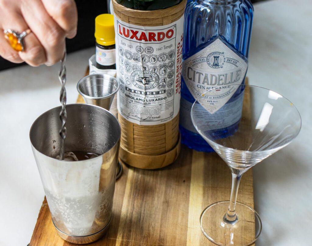 Stirring Martinez Cocktail