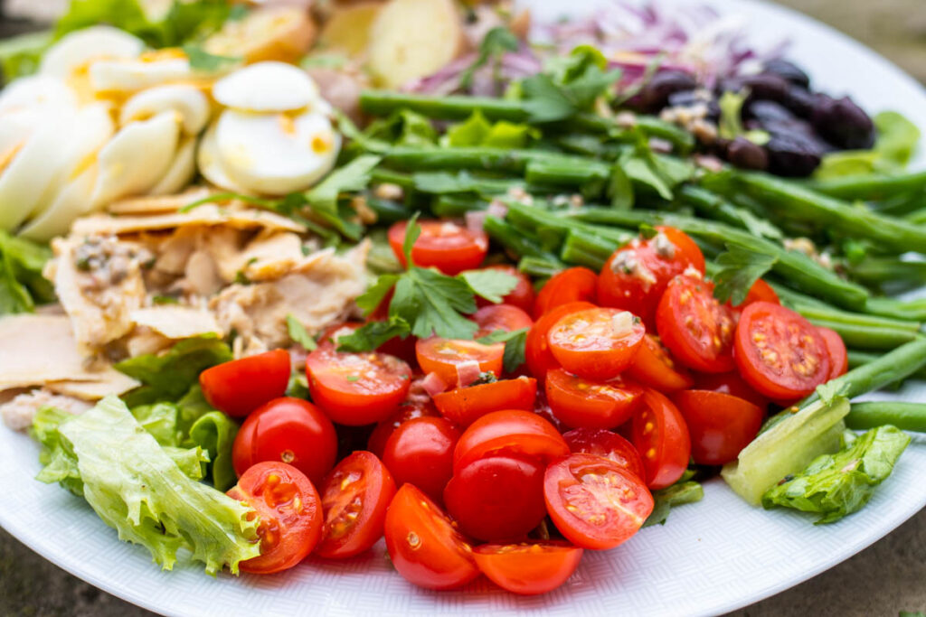 Tomatoes in Nicoise Salad