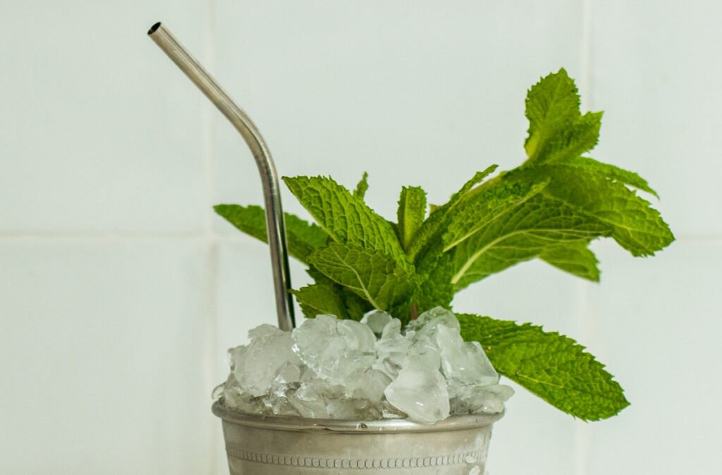 Top of a Mint Julep with Ice, Straw and Mint
