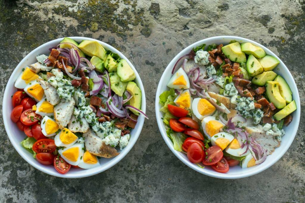 Two Cobb Salads - Overhead Shot