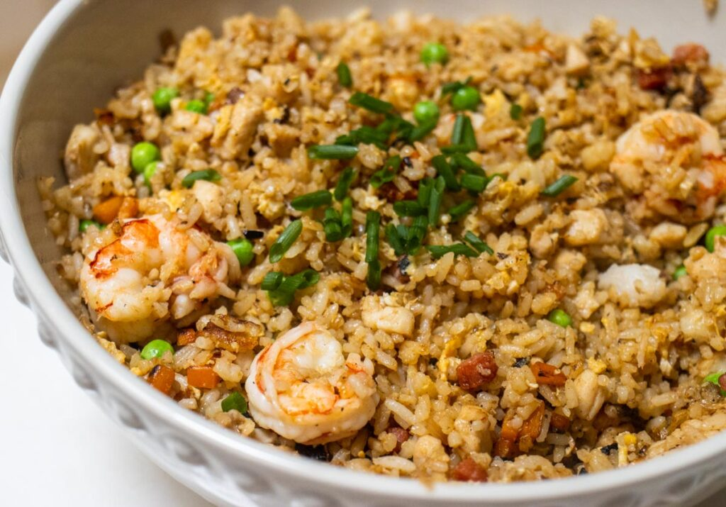 Yangzhou Rice in White Bowl