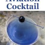 """Pinterest image: aviation cocktail with caption reading """"How to Make an Aviation Cocktail"""""""