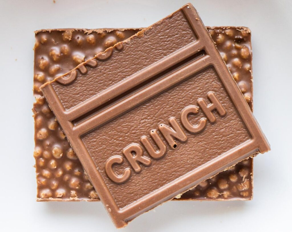 Crunch Chocolate Bar Out of Wrapper