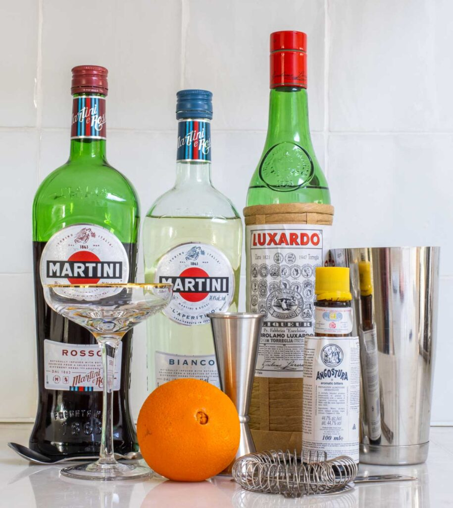 Diplomat Cocktail Ingredients and Tools