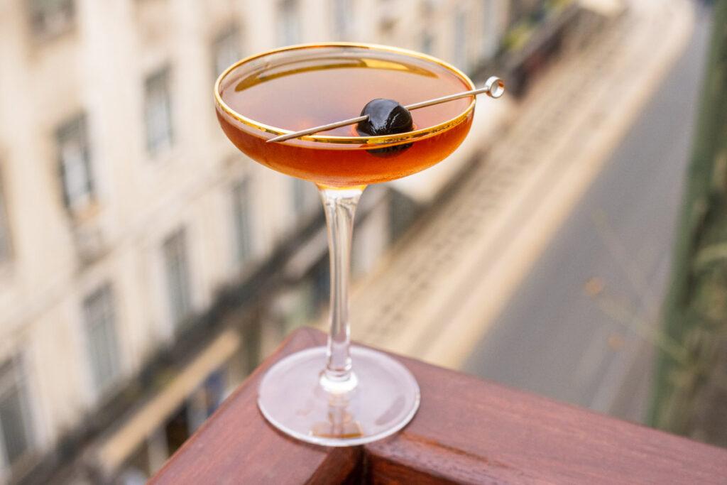 Diplomat Cocktail with Maraschino Cherry Garnish