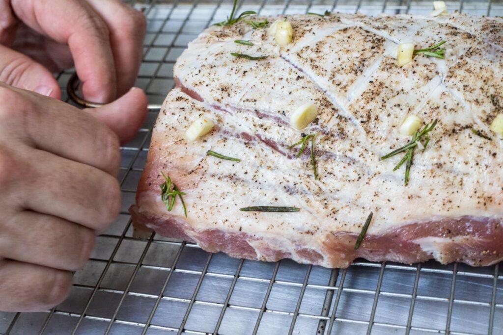 Inserting Oven Probe for Pork Loin Roast