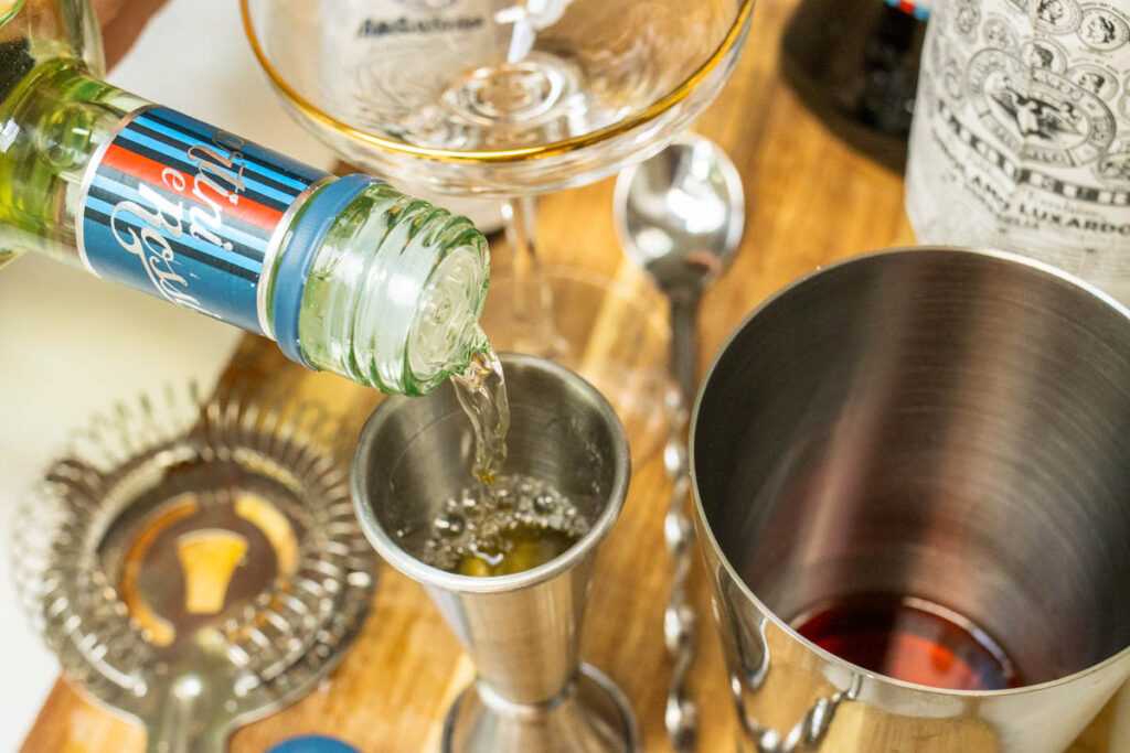Measuring Dry Vermouth for Diplomat Cocktail