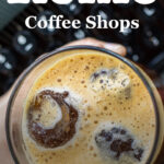 """Pinterest image: coffee with caption reading """"Rome Coffee Shops"""""""