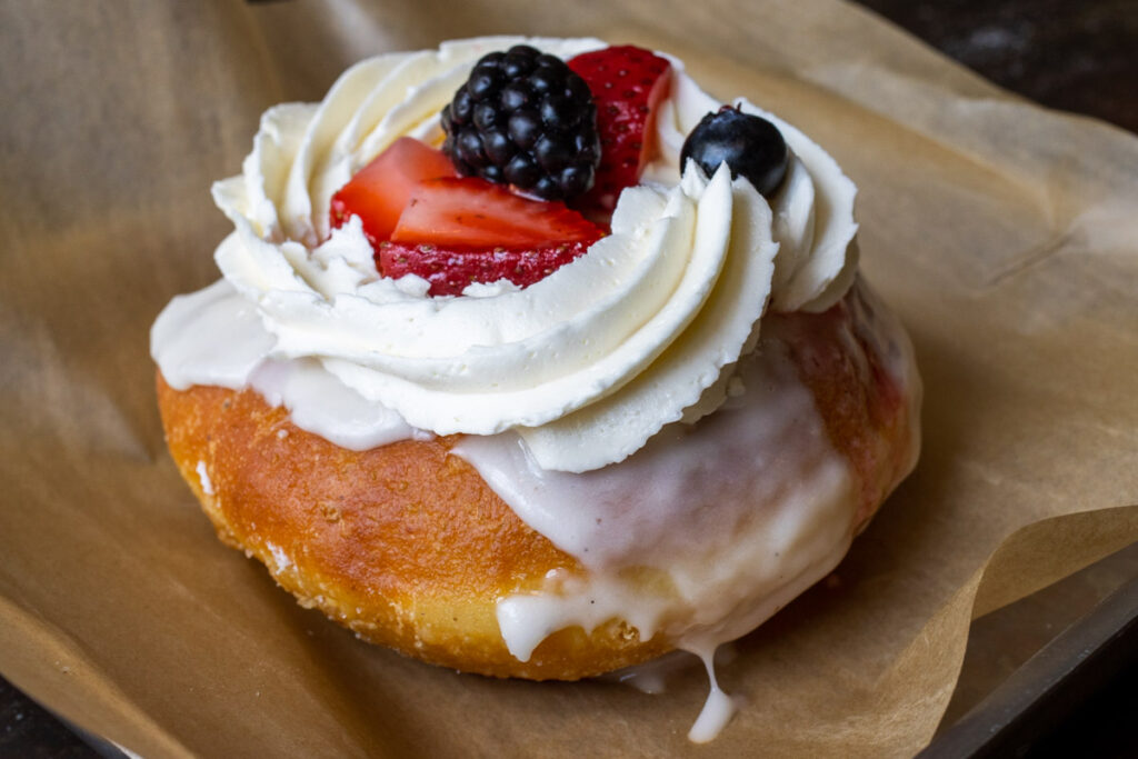 Berries and Cream Donut at District Donuts in New Orleans