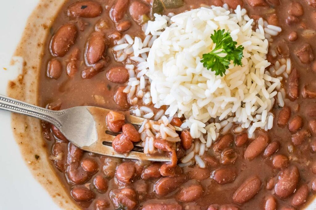 Fork in Red Beans and Rice at Willie Mae's