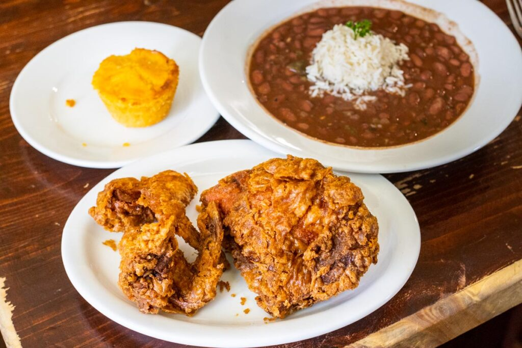 Fried Chicken Red Beans and Corn Bread at Willie Mae's