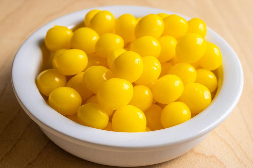 Lemon Heads in White Bowl
