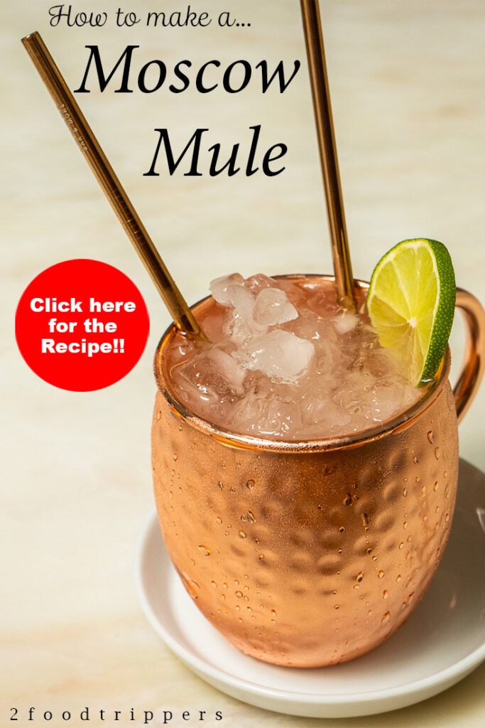 """Pinterest image: moscow mule cocktail with caption reading """"How to make a Moscow Mule - Click here for the Recipe!'"""