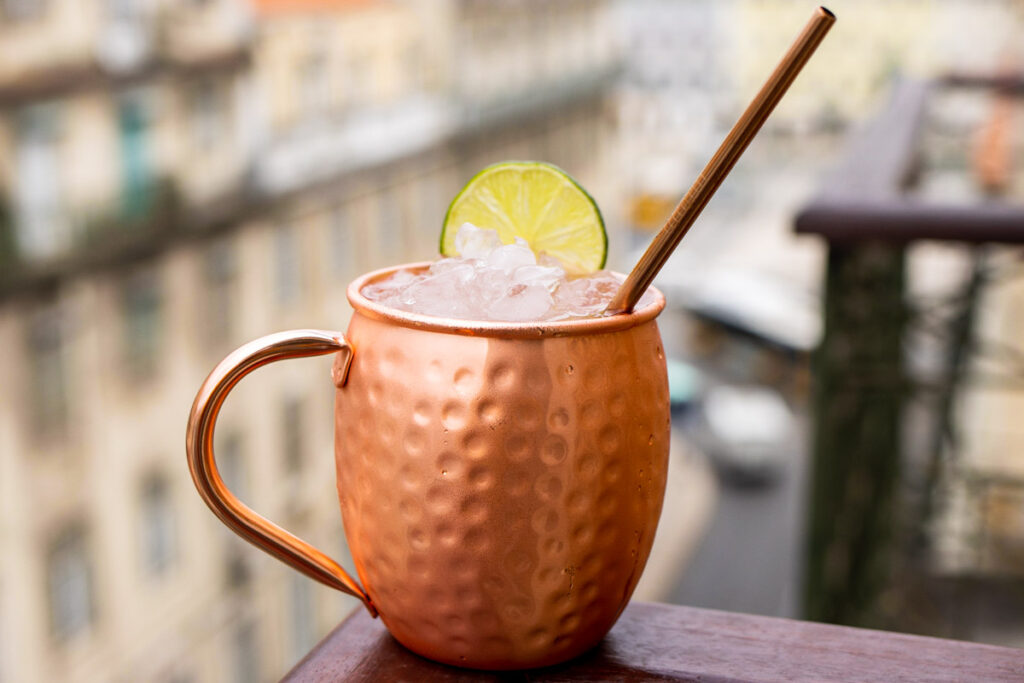 Moscow Mule with Straw on Ledge