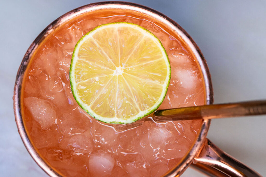 Moscow Mule with straw from Above