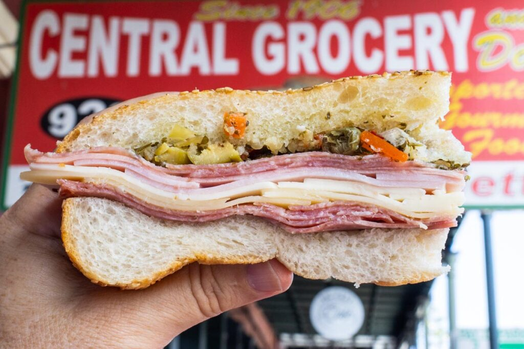 Muffaletta at Central Grocery in New Orleans
