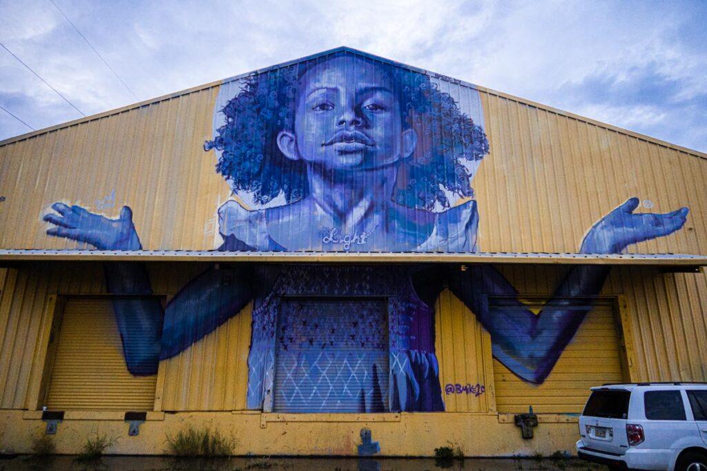 Mural outside Studio Be in New Orleans