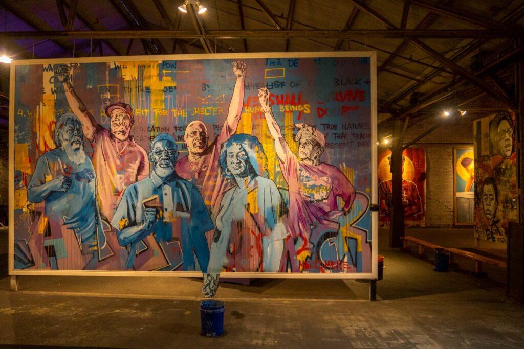 Murals inside Studio Be in New Orleans