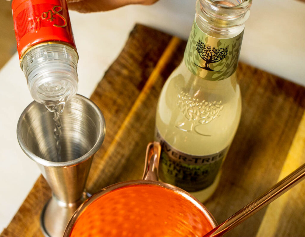 Pouring Vodka for Moscow Mule