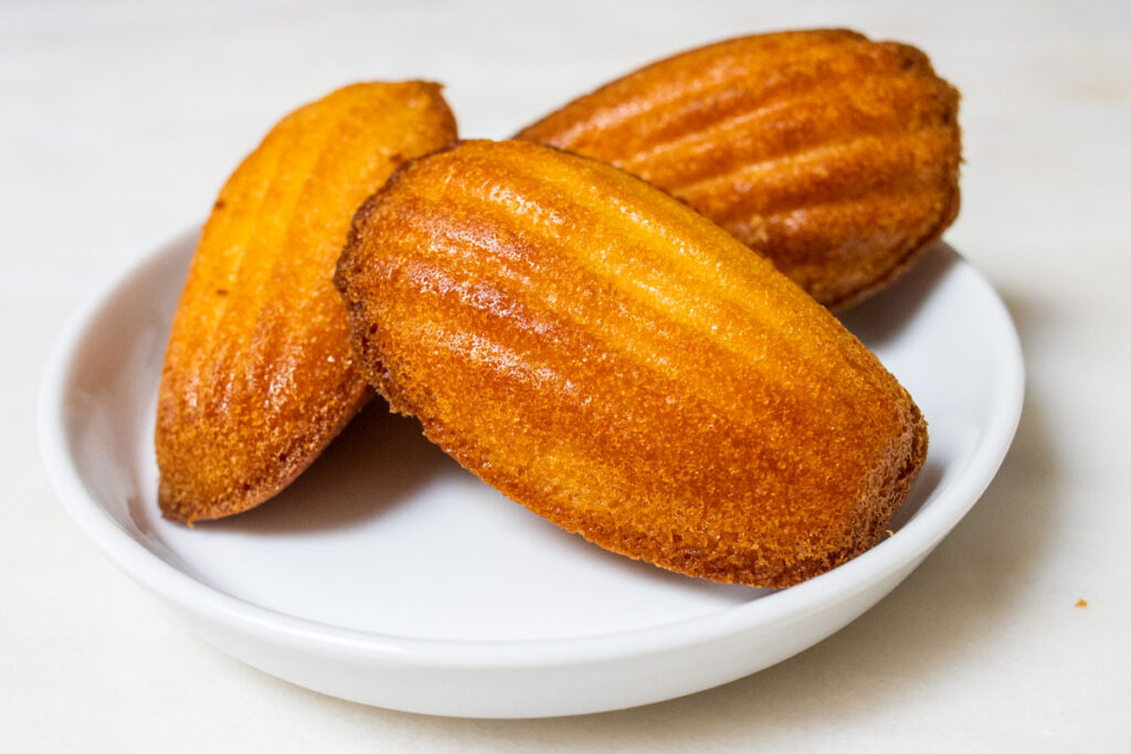 3 Madeleines on White Plate