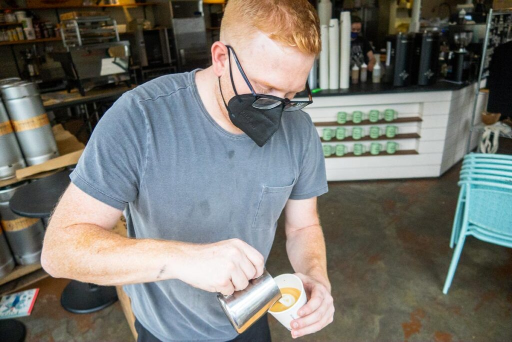 Barista at Congregation Coffee in New Orleans