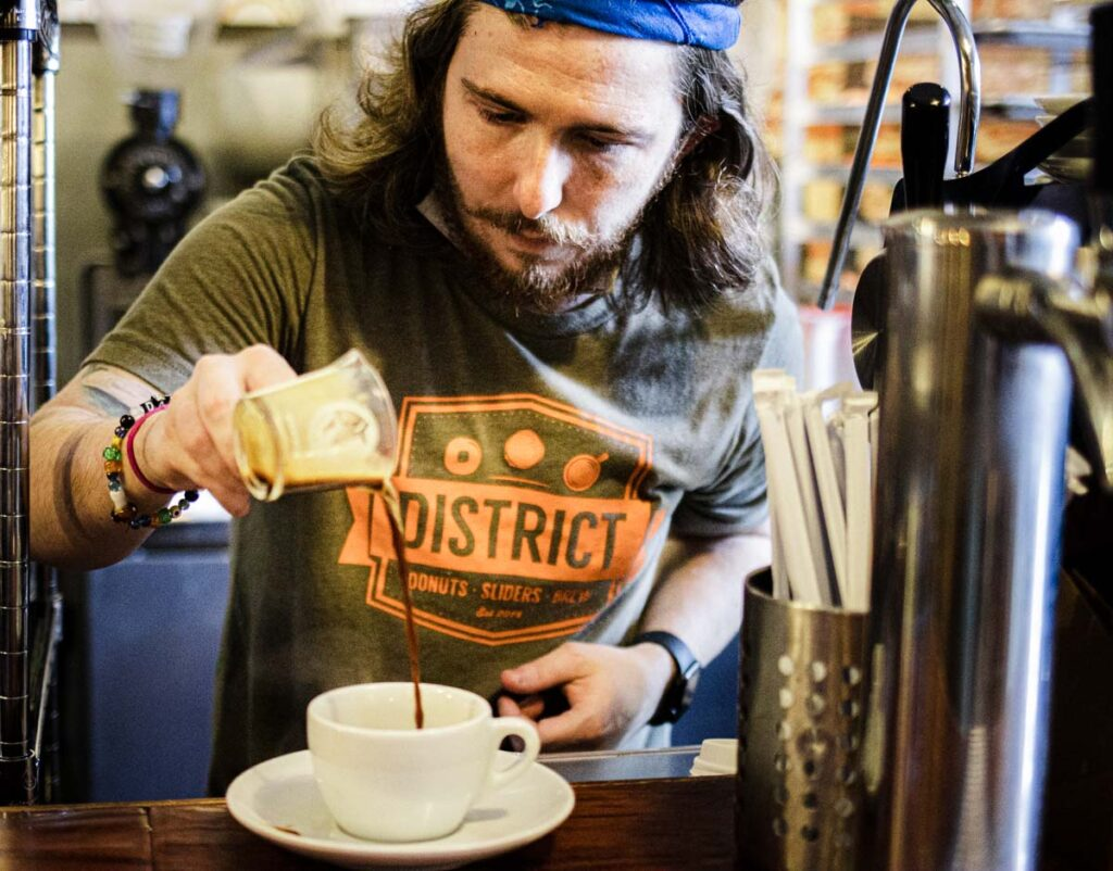 Barista at District Donuts in New Orleans
