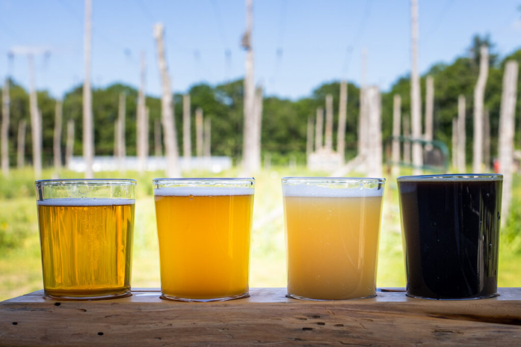 Beer Flight at Arrowood Farms in the Catskills