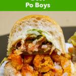 "Pinterest image: po boy sandwich with caption reading ""New Orleans Best Po Boys"""