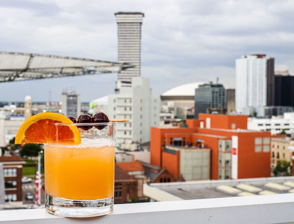 Cocktail with View at Rosies On The Roof in New Orleans