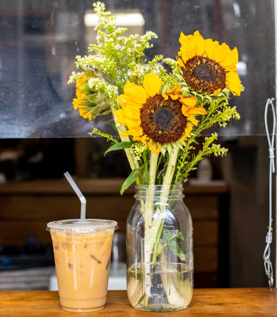 Coffee and Flowers at Spitfire Coffee in New Orleans