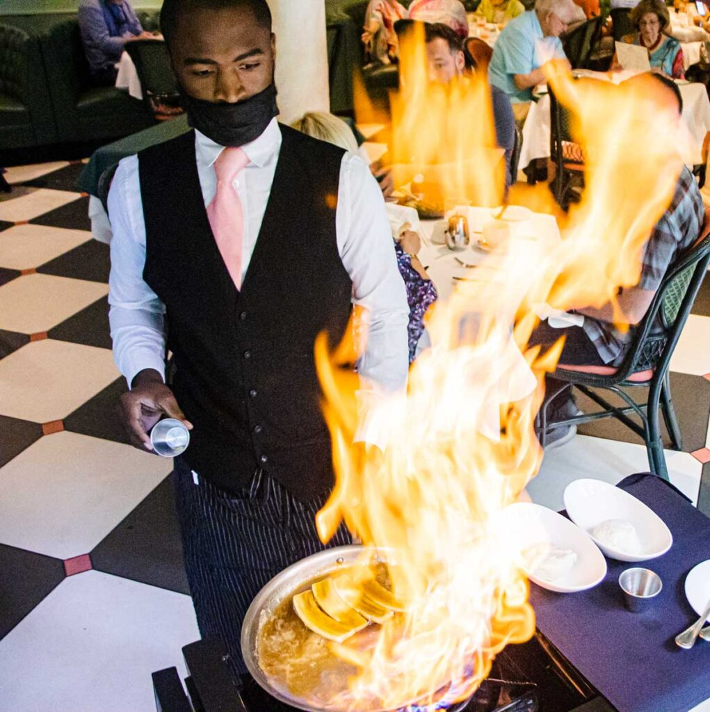 Flaming Bananas Foster at Brennans in New Orleans