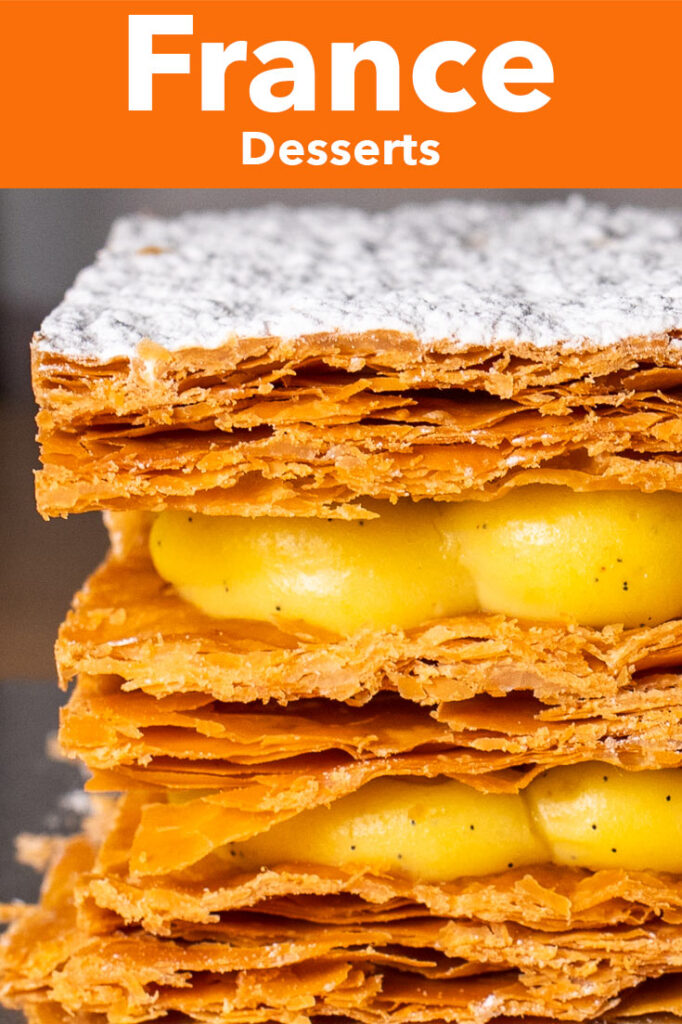 "Pinterest image: French dessert with caption reading ""France Desserts"""