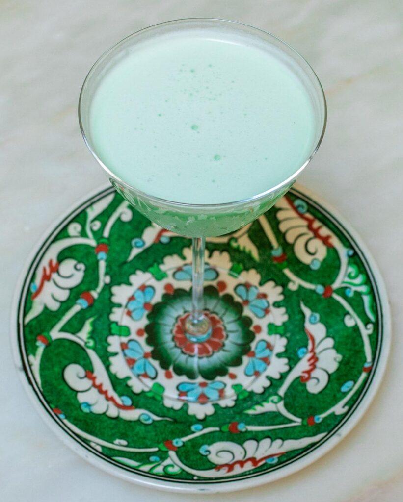 Grasshopper Cocktail on Green Plate