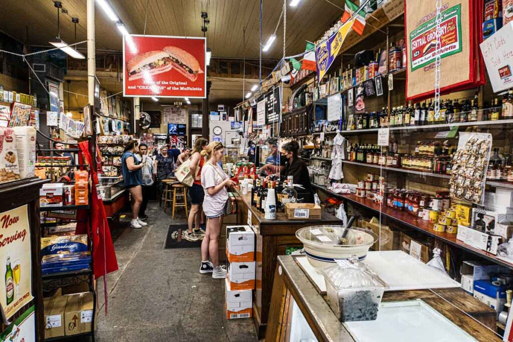 Inside Central Grocery in New Orleans
