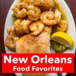 "Pinterest image: BBQ Shrimp Po Boy with caption reading ""New Orleans Food Favorites"""