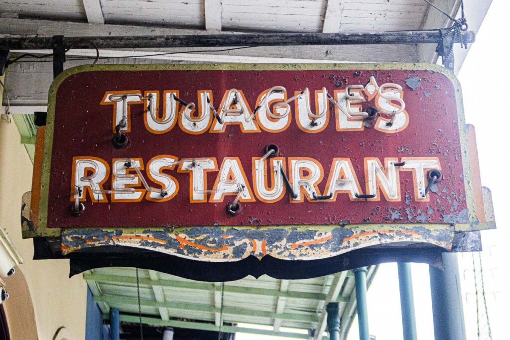 Old Tujagues sign in New Orleans