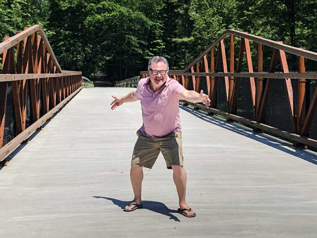 Posing on the Ashokan Trail in the Catskills