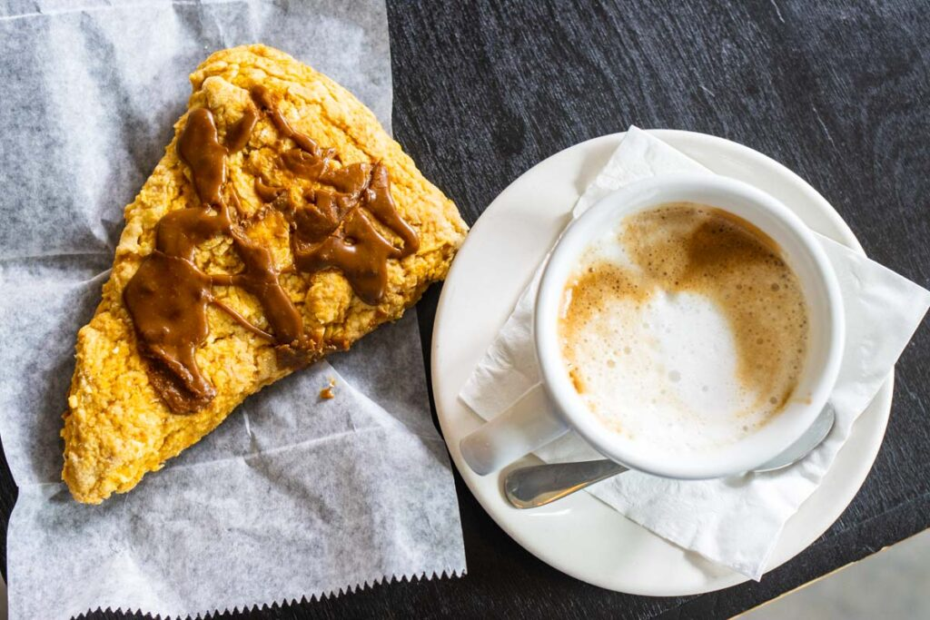 Scone and Cappuccino at Backatown Coffee Parlour in New Orleans