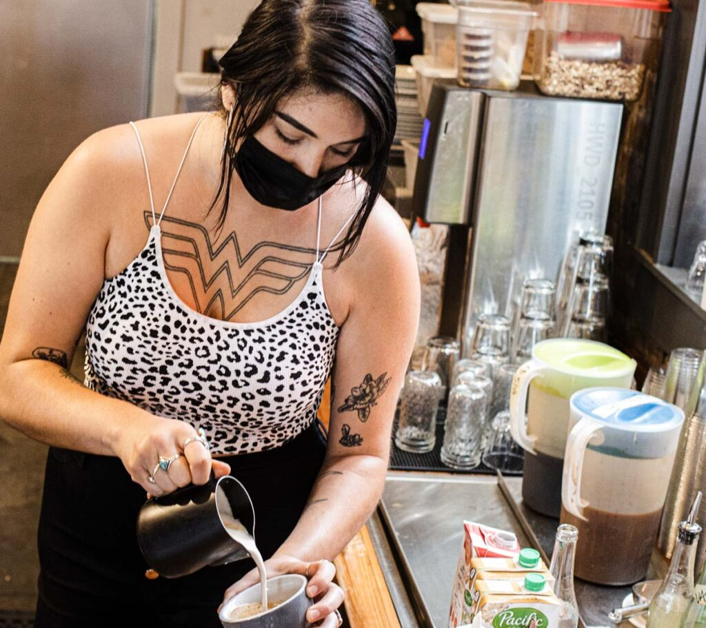 Tattooed Barista at Cherry Coffee Roasters in New Orleans
