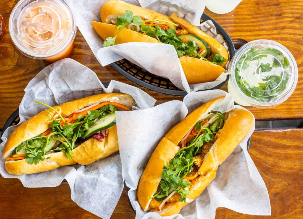 Three Sandwiches at Banh Mi Boys in New Orleans