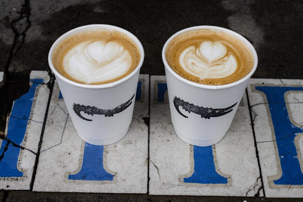 Two Flat Whites at Congregation Coffee in New Orleans