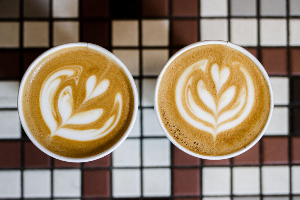 Two Flat Whites at Mammoth Coffee in New Orleans