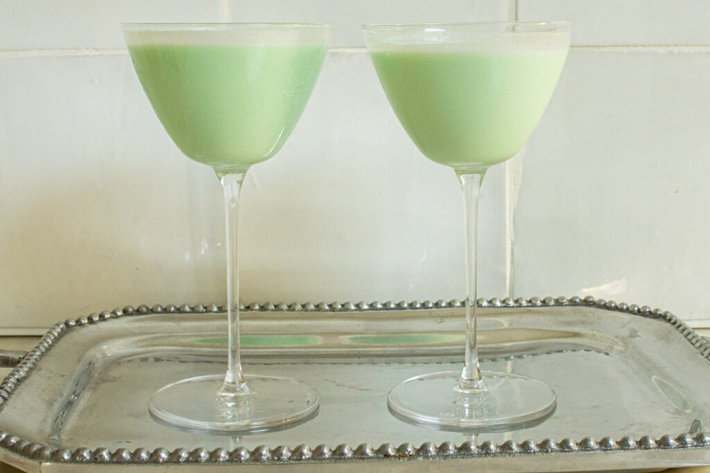 Two Grasshopper Cocktails on Metal Tray
