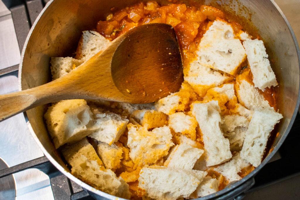 Adding Stale Bread to Tomato Sauce for Pappa al Pomodoro