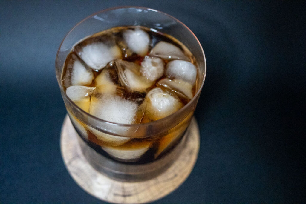 Black Russian Cocktail with Black Background