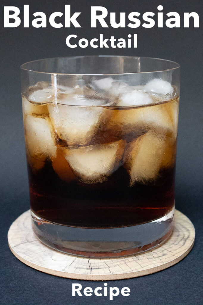 """Pinterest image: black russian cocktail with caption reading """"Black Russian Cocktail Recipe"""""""
