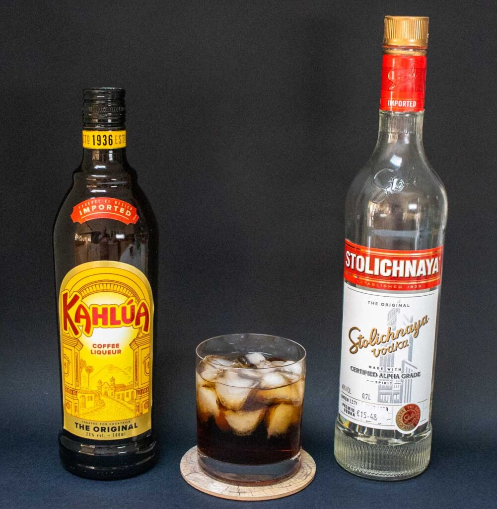 Black Russian with Kahlua and Vodka Bottles