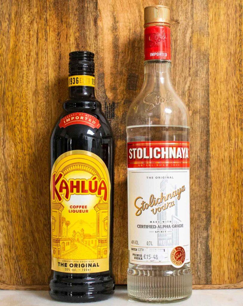 Bottles of Kahlua and Stolichnaya